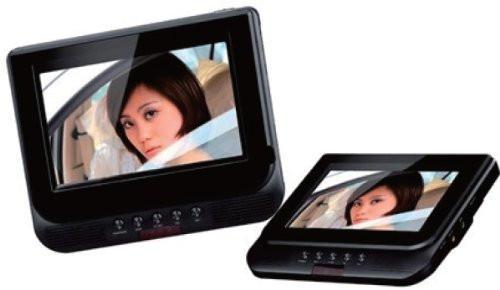 "Mustek DP77A 7"" Dual Screen Portable DVD Playerw/ 3-hr Battery, USB, SD Slot *Multi-region"