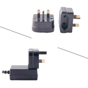 2pc EU-UK - European to British travel mains power adapter,w/5 AMP fuse