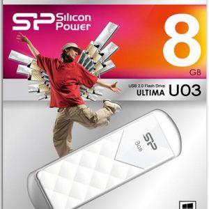 Silicon Power U03 8GB Pen Drive USB Memory Stick Black USB2.0 Flash Memory White