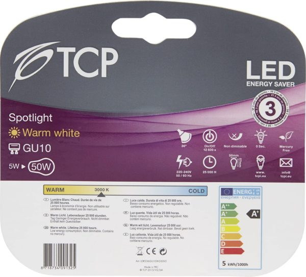 tcp 5w GU10 LED light bulb retail pack