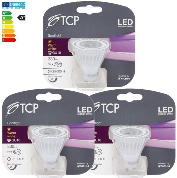 tcp 5w GU10 LED light bulb retail pack bundle 3pcs