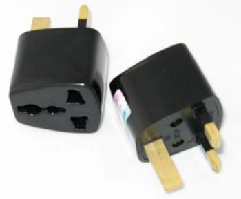 2pcs US/EU/Universal to UK 3pin Travel Adapter/Plug Converter in Black