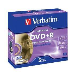 Verbatim 16x DVD+R Media LightScribe 5pk