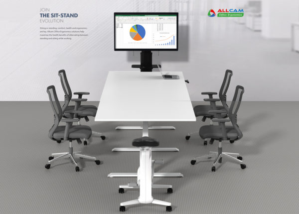 Allcam EDF35TMW Height adjustable meeting desk conference scene