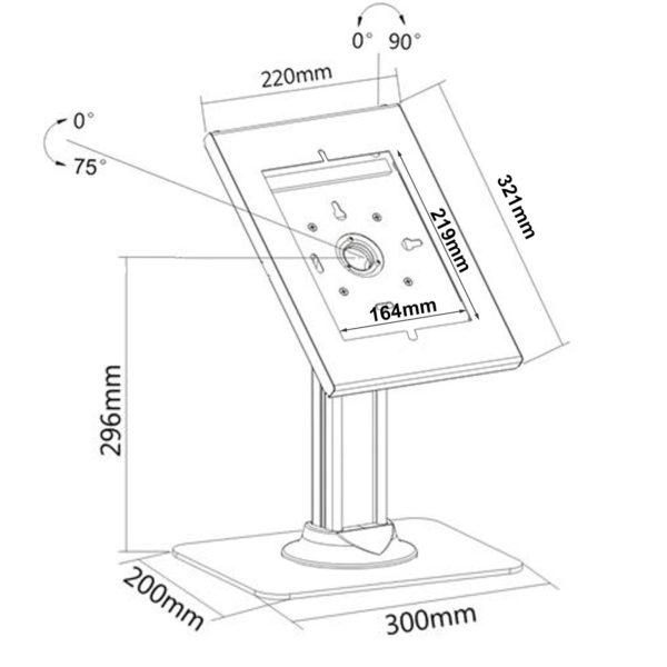 IPA2602DE 10.2 10.5 security ipad enclosure desk stand sizes dimensions drawing