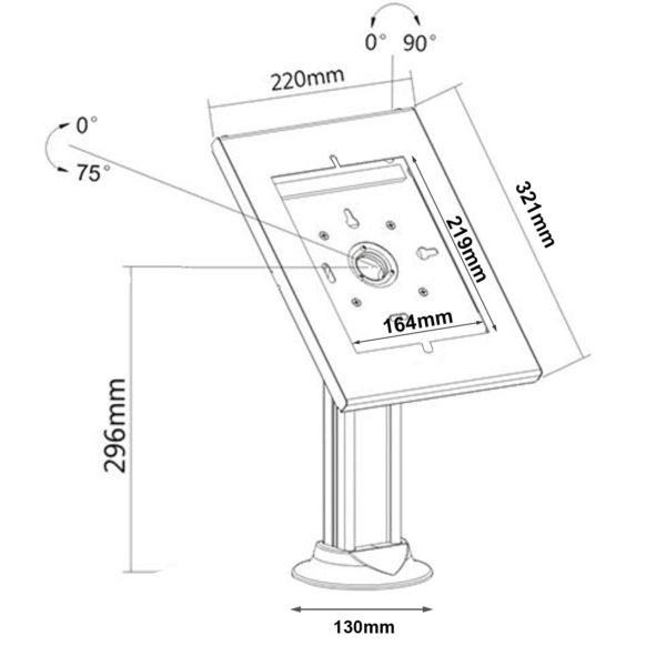 IPA2603DE screw-down10.2 10.5 ipad enclosure desk stand sizes dimensions drawing