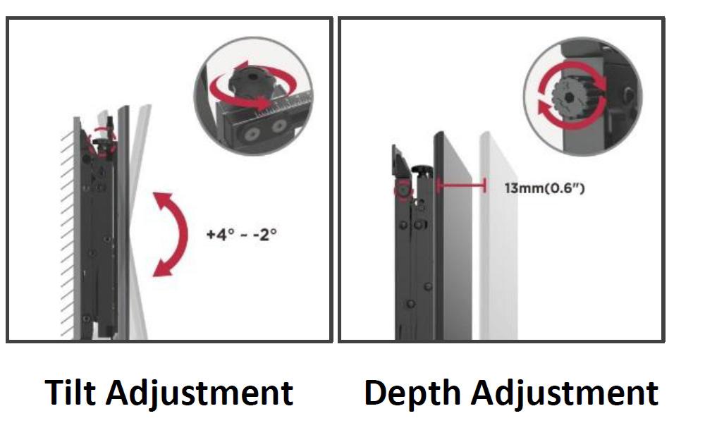 VW64A video wall mount bracket module hands free 3 d adjustment