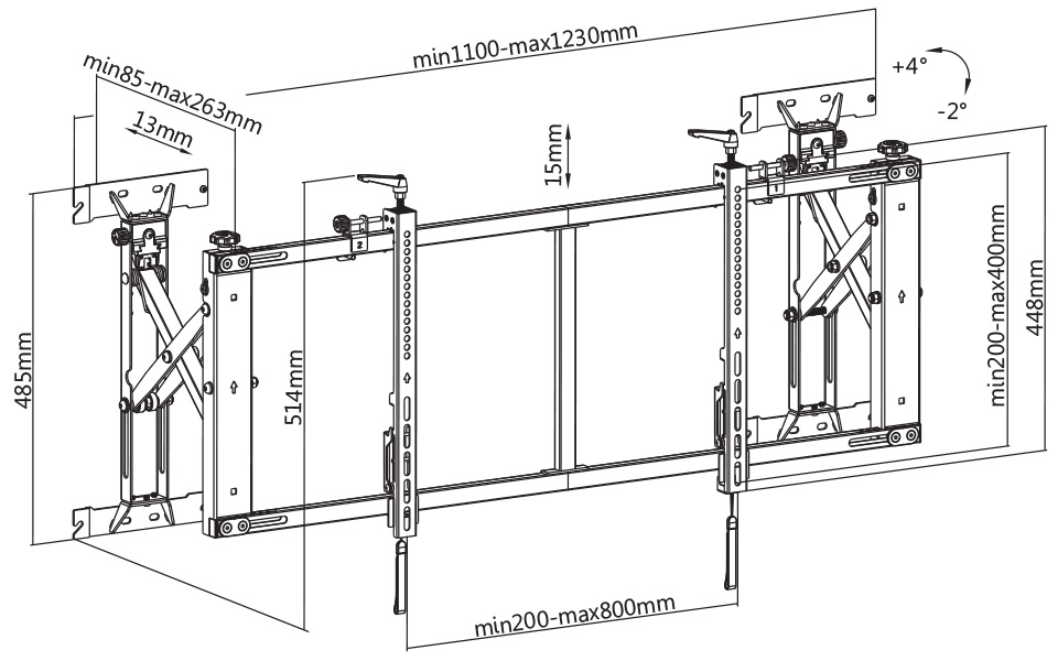 VW64A video wall module size dimension drawing