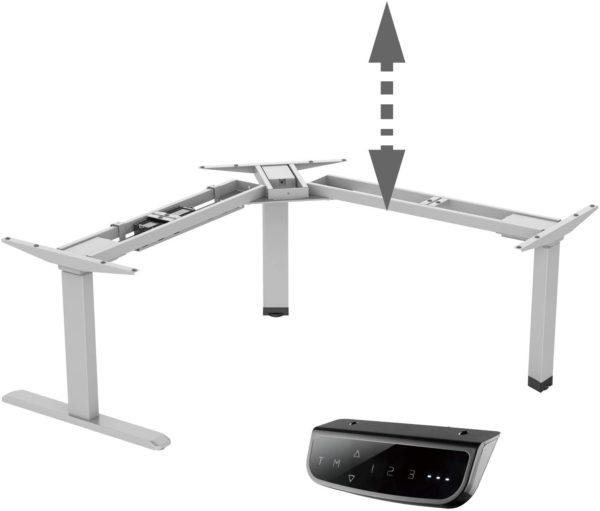Allcam EDF13TS electric radial sit-stand desk height adjustable silver