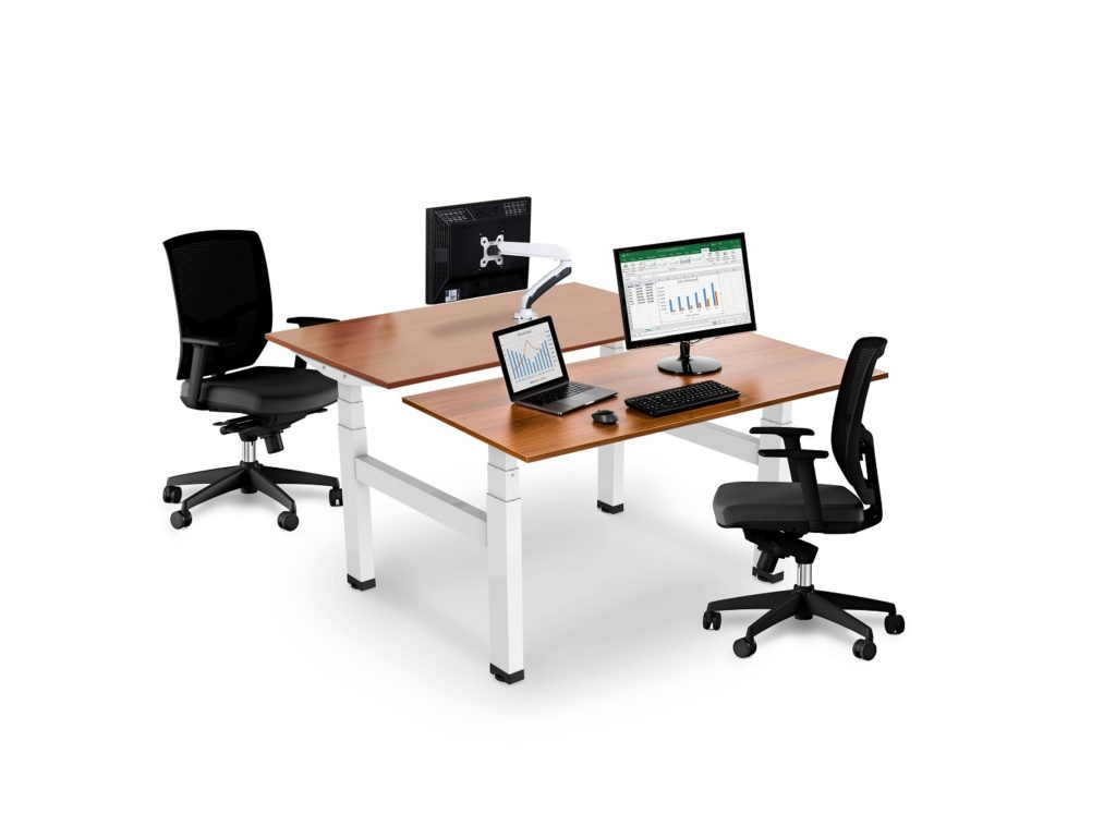 Allcam EDF04Q electric back-to-back sit-stand desks workstations white