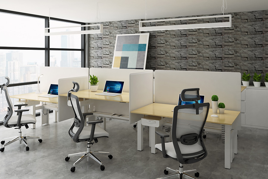 EDF34Q back-to-back electric height adjustable sit-stand desks in open plan office