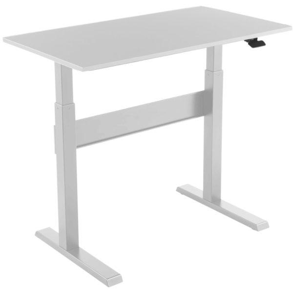 Allcam GDF03 sit stand desk height adjustable high white frame top