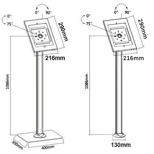"ipa2604 ipa2605 iPad Pro 12.9"" Kiosk Floor Stand height 108cm"