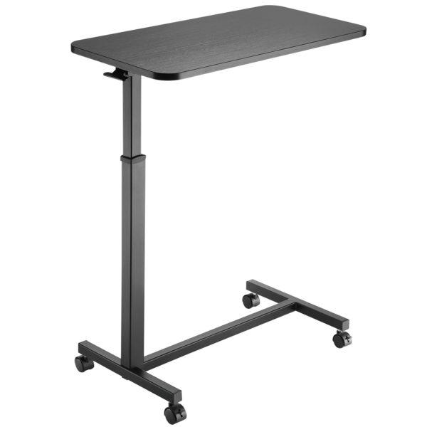 MBT01W height adjustable over-bed table desk in black