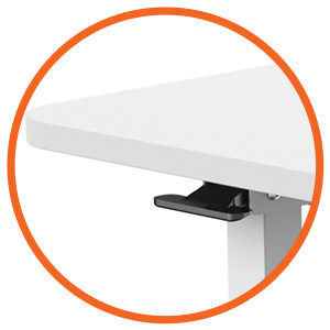 MBT01W height adjustable over-bed table desk lever control