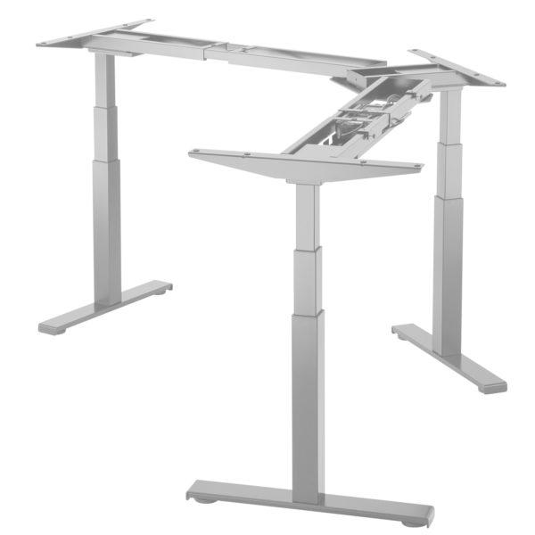 Allcam EDF03T Triple Motor Sit-Stand Radial Desk Frame L- or Y-shape Silver