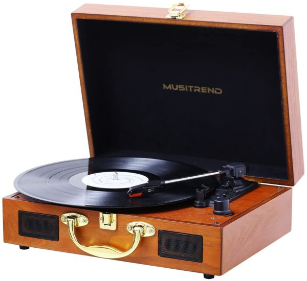 Musitrend MT316 vinyl LP record player open playing wood case