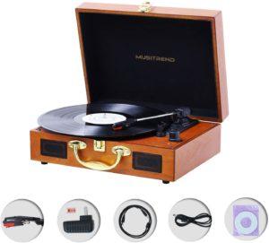 Musitrend MT316 vinyl LP record player box content