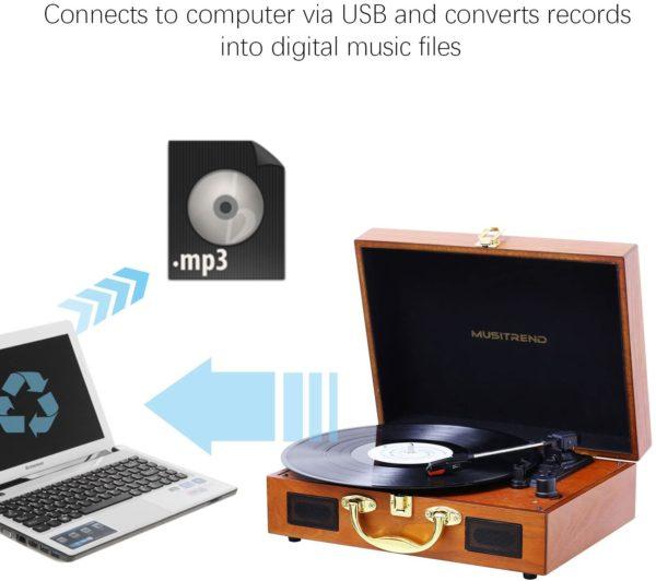 Musitrend MT316 vinyl LP record player laptop convert digital music