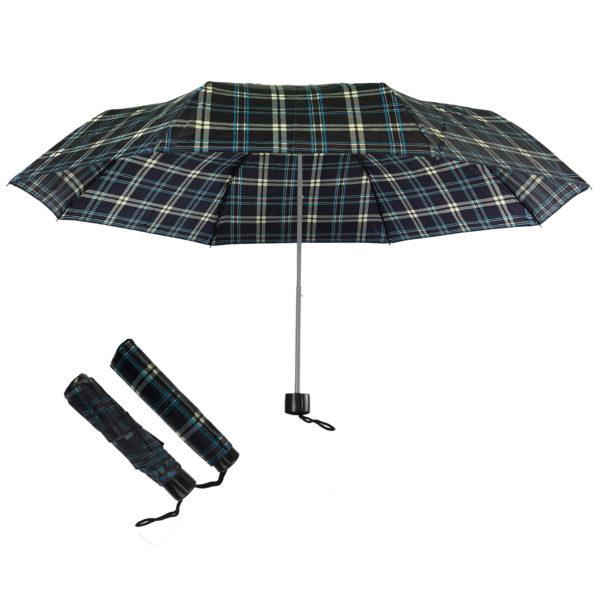 Compact Folding Travel Umbrellas/ 101cm/43″ mini Brolly Black-Blue-White Checks