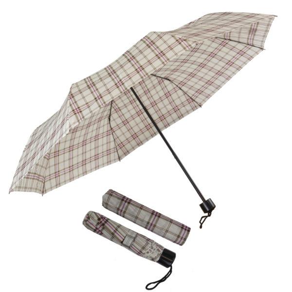 Compact folding umbrellas White-Brown-Pink checks
