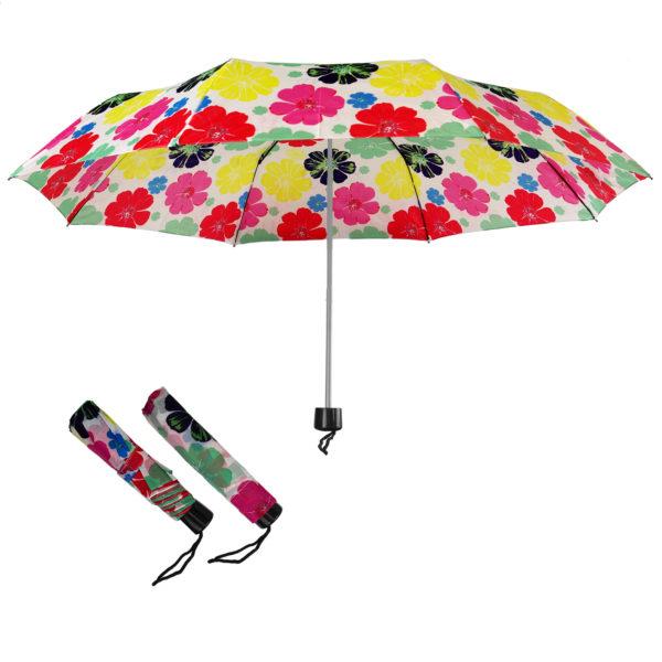 Compact Folding Travel Umbrellas/ 101cm/43″ mini Brolly White & Flowers