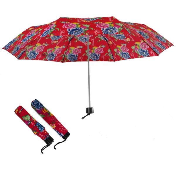 Compact Folding Travel Umbrellas/ 101cm/43″ mini Brolly Red & Flowers