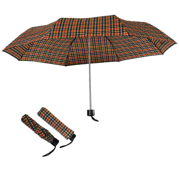 Compact Folding Travel Umbrellas/ 101cm/43″ mini Brolly Yellow-Black-Red Checks