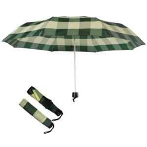 Compact folding umbrellas green-yellow checks