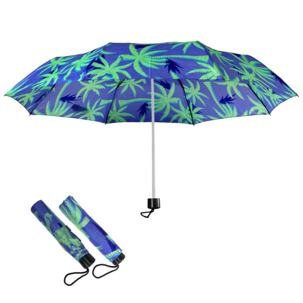 Compact Folding Travel Umbrellas/ 101cm/43″ mini Brolly Blue & Coconut
