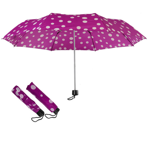 Compact Folding Travel Umbrellas/ 101cm/43″ mini Brolly Purple-White spots