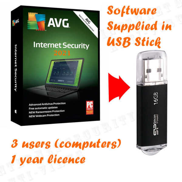 AVG internet security 2021 box and 16GB USB stick 3 users computers bundle