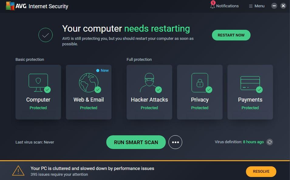 AVG internet security main panel window app