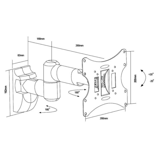 """LCD503A Universal 23""""-42"""" LCD Wall Mount Bracket Articulate Arms VESA 200x200 dimension sizes drawing chart"""