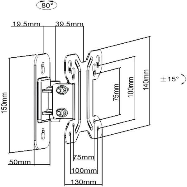 LDA11110 wall mount bracket size dimensions