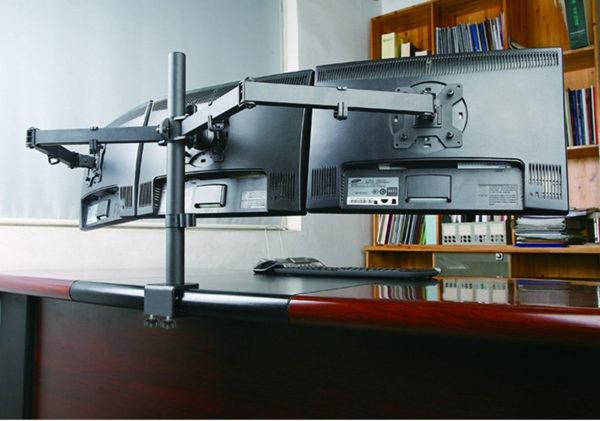 MDM23T triple LCD monitor arm stand gaming setup back scene