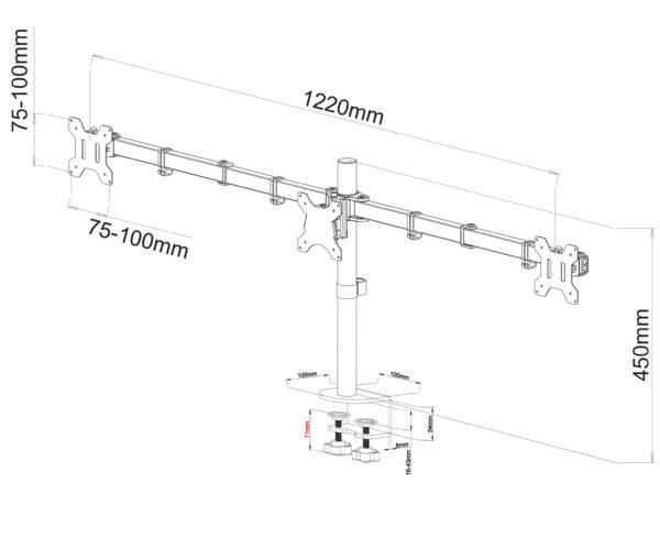 MDM23T triple LCD monitor arm stand sizes dimension chart diagram