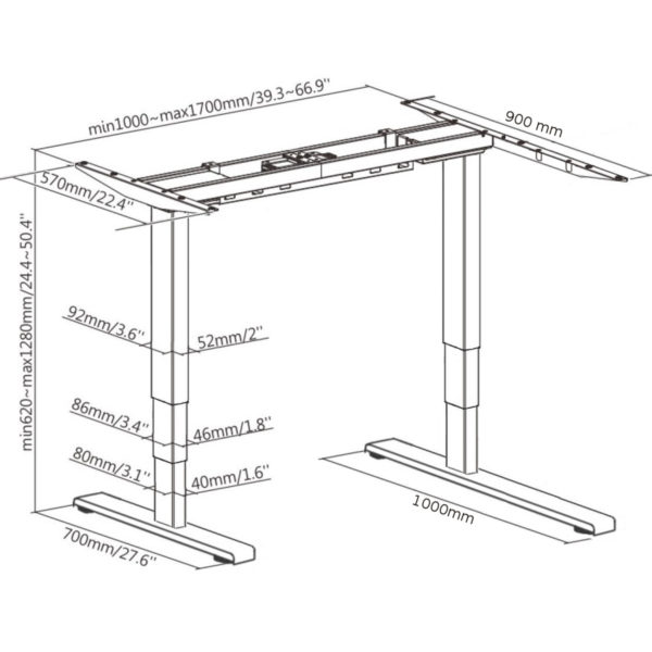 EDF12+RDK electric height adjustable sit-stand standing radial corner desk frame sizes dimensions diagram