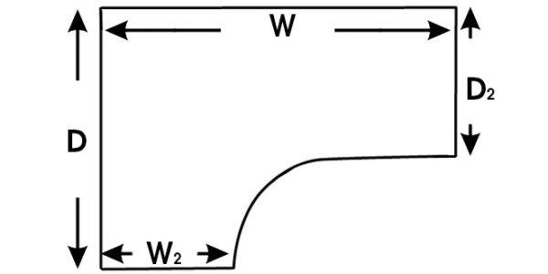radial desk top size dimension diagram