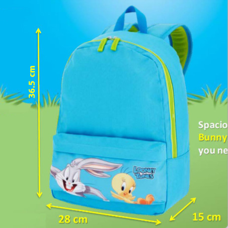 Looney Tunes Backpack for young kids and school boys size dimensions diagram