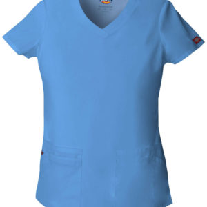 Dickies EDS signature Women medical scrub v-neck top shirt uniform ceil blue