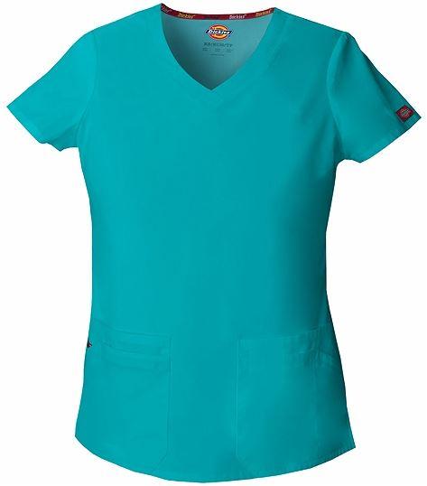 Dickies EDS signature Women medical scrub v-neck top shirt uniform teal blue