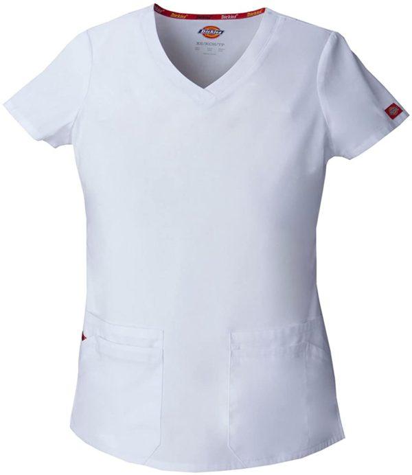 Dickies EDS signature Women medical scrub v-neck top shirt uniform White