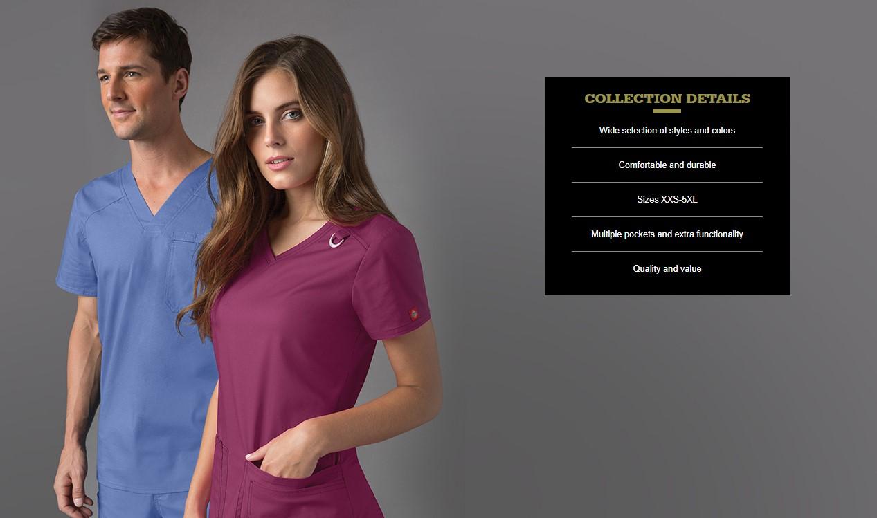 Dickies EDS signature Women medical scrub v-neck top shirt uniform