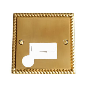 Click 13A Fused Spur/Connection Unit + Flex Outlet w/ Shiny Polished Brass Metal Front Plate