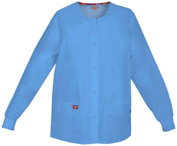 "Dickies 86306 Snap Front Warm-Up Jacket Medical Uniform"" width=""677"" height=""1024"" /> Dickies Scrubs EDS SIGNATURE Snap Front Warm-Up Jacket Medical Uniform Ceil Blue"