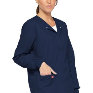 """[caption id=""""attachment_337650"""" align=""""alignnone"""" width=""""677""""] Dickies Scrubs EDS SIGNATURE Snap Front Warm-Up Jacket Medical Uniform[/caption]"""