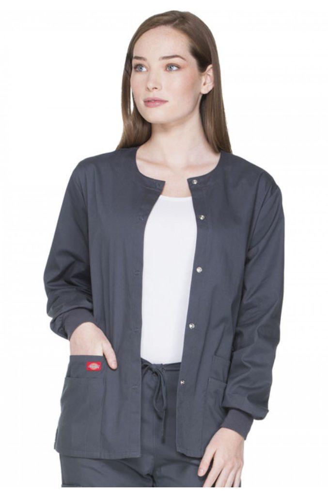 Dickies Scrubs EDS SIGNATURE Snap Front Warm-Up Jacket Medical Uniform