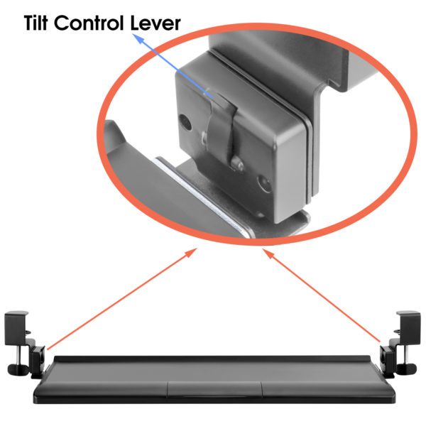 Allcam ergonomic clamp-on tilting keyboard tray platform wrist supports rest