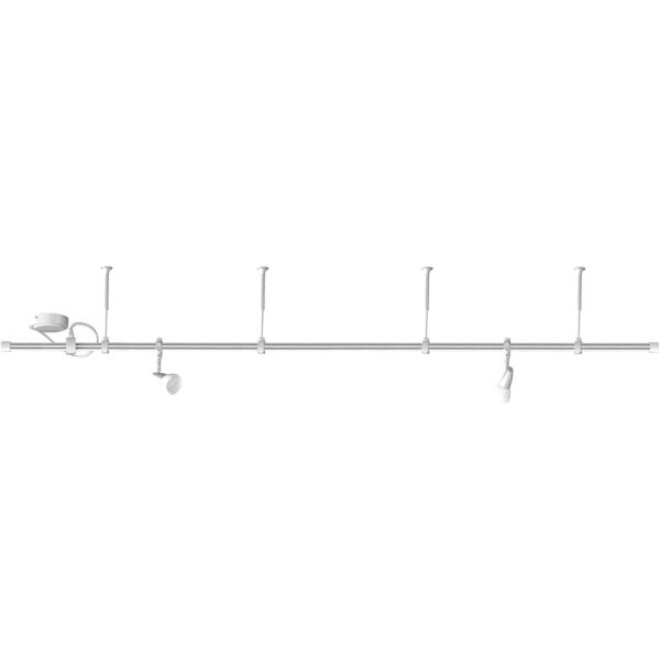 Click 2 metre Flexible Track 240V GU10 Ceiling Spotlight Lighting System with 2 Adjustable Spotlight Heads and 5W LED Bulbs